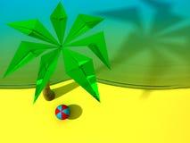 Spiaggia con la palma e la sfera Immagine Stock