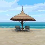 Spiaggia con le chaise-lounge dell'ombrello e del sole di spiaggia illustrazione vettoriale