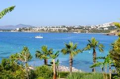 Spiaggia con le palme in Bodrum Fotografia Stock