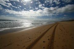 Spiaggia con le piste immagine stock