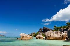 Spiaggia d'Argent di sorgente di Anse Fotografie Stock Libere da Diritti