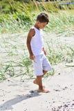 Spiaggia d'esplorazione del ragazzo fotografia stock