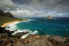 Spiaggia dall'allerta, Oahu, Hawai di Makapuu Immagini Stock