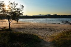 Spiaggia degli zappatori al tramonto Fotografia Stock