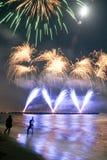 Spiaggia dei fuochi d'artificio del dei Marmi Italia di Forte fotografie stock libere da diritti