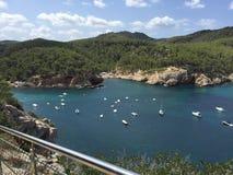 Spiaggia del blu di Ibiza Fotografie Stock