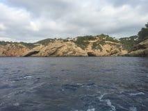 Spiaggia del blu di Ibiza Fotografia Stock Libera da Diritti