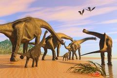 Spiaggia del Brachiosaurus royalty illustrazione gratis