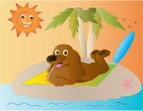 Spiaggia del cane del fumetto Fotografie Stock Libere da Diritti