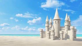 Spiaggia del castello di sabbia sul cielo luminoso rappresentazione 3d Immagini Stock