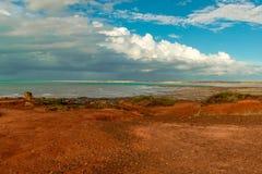 Spiaggia del cavo sotto un cielo blu in Australia fotografia stock