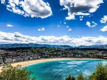 Spiaggia del concha della La sul ¡ n di San Sebastià immagine stock