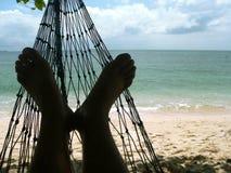 Spiaggia del corallo dei piedi del Hammock Fotografia Stock Libera da Diritti