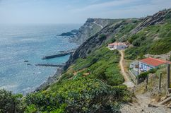 Spiaggia del da Arrifana della Praia vicino a Aljezur, Portogallo Fotografia Stock Libera da Diritti