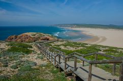 Spiaggia del da Bordeira della Praia vicino a Carrapateira, Portogallo Fotografie Stock Libere da Diritti