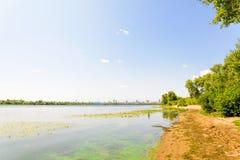 Spiaggia del fiume di Dnieper Fotografie Stock