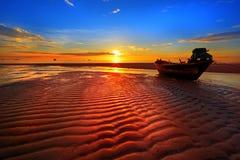 Spiaggia del Hua Hin del peschereccio. Immagine Stock