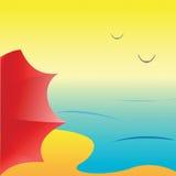 Spiaggia del mare con l'ombrello rosso, vettore immagini stock