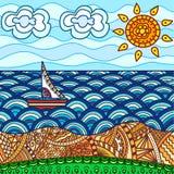 Spiaggia del mare con la nave Fotografia Stock Libera da Diritti