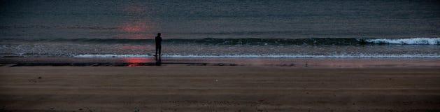 Spiaggia del mare di alba Immagine Stock