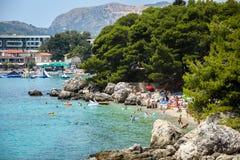 Spiaggia del mare in Mlini Fotografie Stock