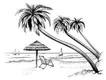 Spiaggia del mare o dell'oceano con le palme, l'ombrello, le chaise longue e gli yacht Vista disegnata a mano della spiaggia illustrazione vettoriale