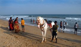 Spiaggia del mare a Orissa Fotografie Stock Libere da Diritti