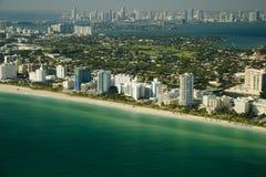 Vista aerea della riva di Miami Fotografie Stock