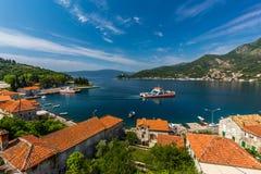 Spiaggia del Montenegro, baia di Cattaro Immagini Stock
