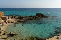 Spiaggia a Formentera, Balearic Island, Spagna. Fotografia Stock Libera da Diritti