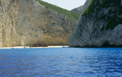 Spiaggia del naufragio all'isola della Zacinto Immagine Stock Libera da Diritti