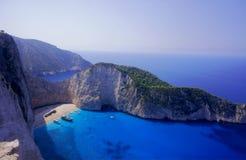 Spiaggia del naufragio all'isola della Zacinto Fotografia Stock Libera da Diritti