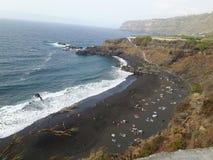 Spiaggia del nero di Tenerife vicino a Puerto de la Cruz Fotografie Stock Libere da Diritti