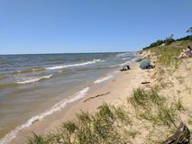 Spiaggia del parco di stato del Pj Hoffmaster Immagine Stock Libera da Diritti