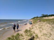 Spiaggia del parco di stato del Pj Hoffmaster Fotografia Stock Libera da Diritti