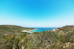 View of Spiaggia del Principe. Spiaggia del Principe seen from the hill stock photos