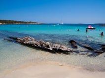 Spiaggia del Relitto, isla de Caprera Foto de archivo libre de regalías