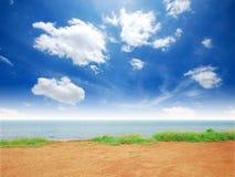 Spiaggia del sole della sabbia di mare dell'erba verde Fotografie Stock