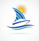 Spiaggia del sole delle onde di barca Immagine Stock Libera da Diritti