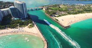 Spiaggia del sud, Miami Beach florida Parco di Haulover Video aereo archivi video