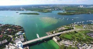 Spiaggia del sud, Miami Beach florida Parco di Haulover Video aereo stock footage