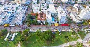 Spiaggia del sud, Miami Beach florida Siluetta dell'uomo Cowering di affari Fotografie Stock
