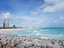 Spiaggia del sud, Miami dal pilastro del sud del punto Fotografia Stock