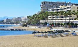 Spiaggia del Venus a Marbella, Spagna Fotografie Stock Libere da Diritti