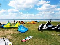 Spiaggia dell'aquilone di Podersdorf Immagine Stock