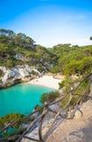 Spiaggia dell'en Turqueta Turqueta di Cala in Menorca, Spagna fotografia stock libera da diritti