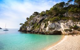 Spiaggia dell'en Turqueta Turqueta di Cala in Menorca, Spagna fotografie stock
