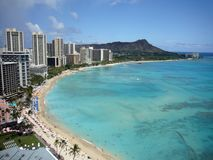 Spiaggia dell'Hawai Waikiki Fotografia Stock Libera da Diritti