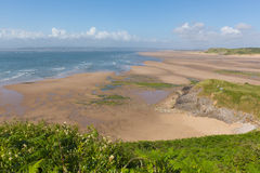 Spiaggia della baia di Broughton i Galles del sud della penisola di Gower BRITANNICI vicino a Rhossili Immagini Stock Libere da Diritti