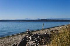 Spiaggia della Camera leggera di West Point a Seattle fotografia stock libera da diritti